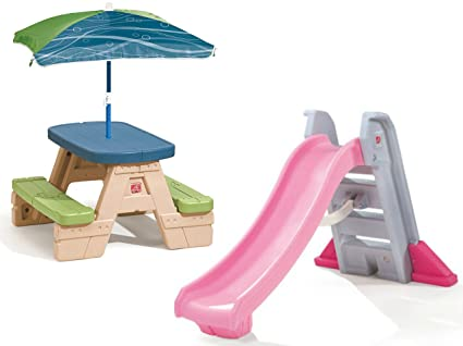 Amazon step2 big folding slide and step2 sit and play picnic step2 big folding slide and step2 sit and play picnic table with umbrella watchthetrailerfo