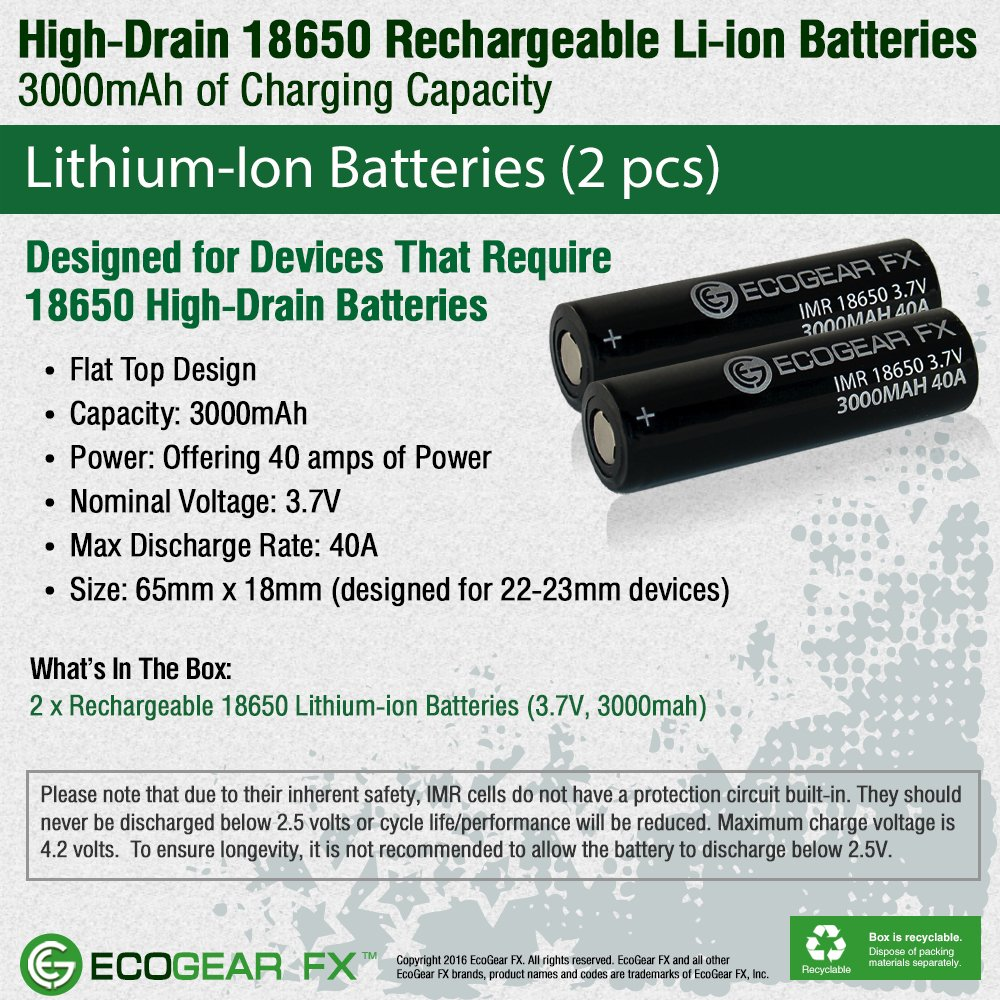 Ecogear Fx 18650 Rechargeable Flat Top Batteries Long Quot2400mahquot Liion W Protected Circuit Lasting Imr High Drain Lithium Ion 37v 3000mah Li 40a 2pk Recommended