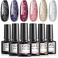 TOMICCA Glitter Gel Nail Polish Set of 6 Pcs Black Red Gold Pink Silver Sparkle Colors Nail Gel Polish Soak Off UV LED…