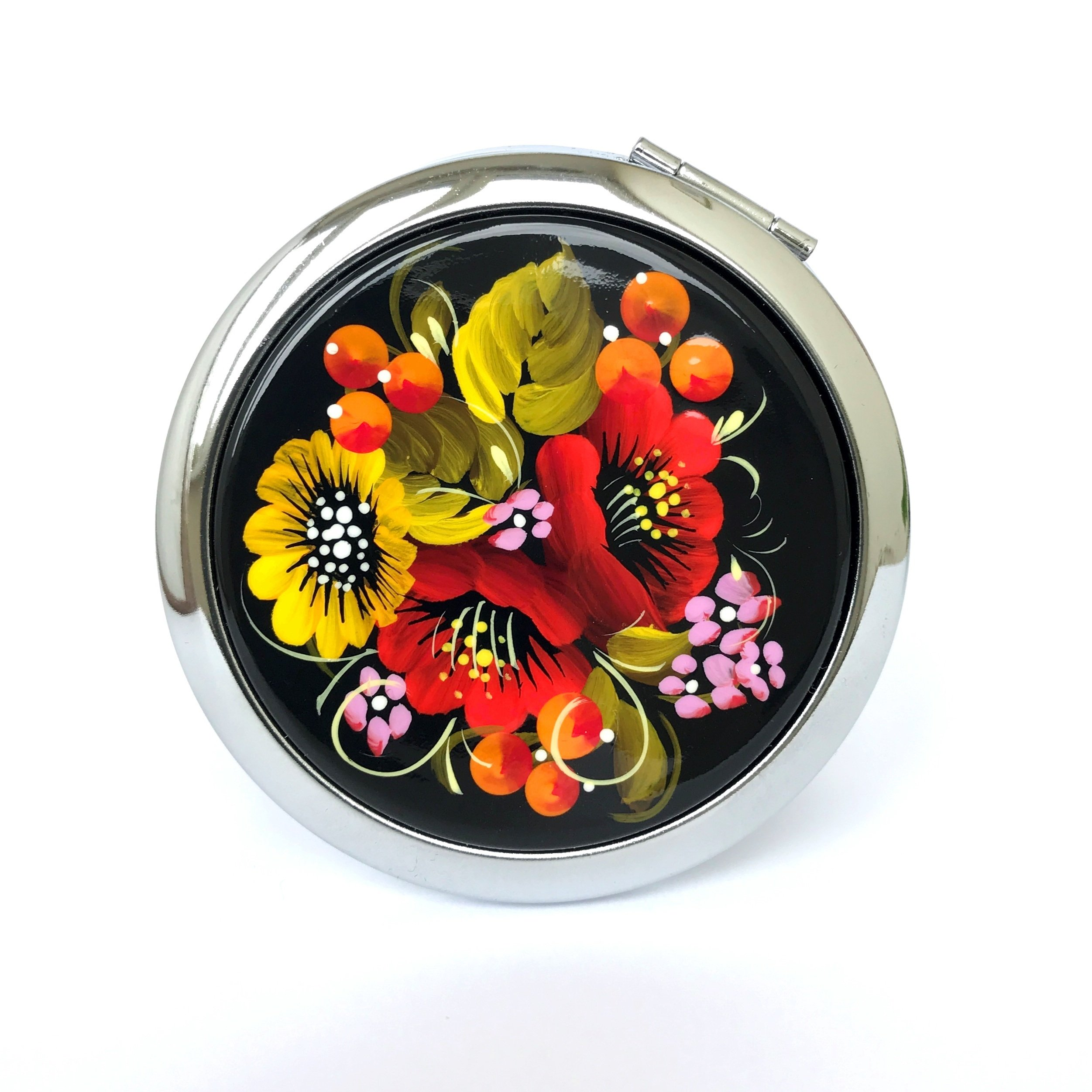 Petrykivka Ethnic Floral Design Hand Painted in Ukraine Round Cosmetic Makeup Double-Sided Pocket Mirror for Purses and Handbags, Small and Unique Gift for Women, Quality Metal and Wood (Red Flowers)