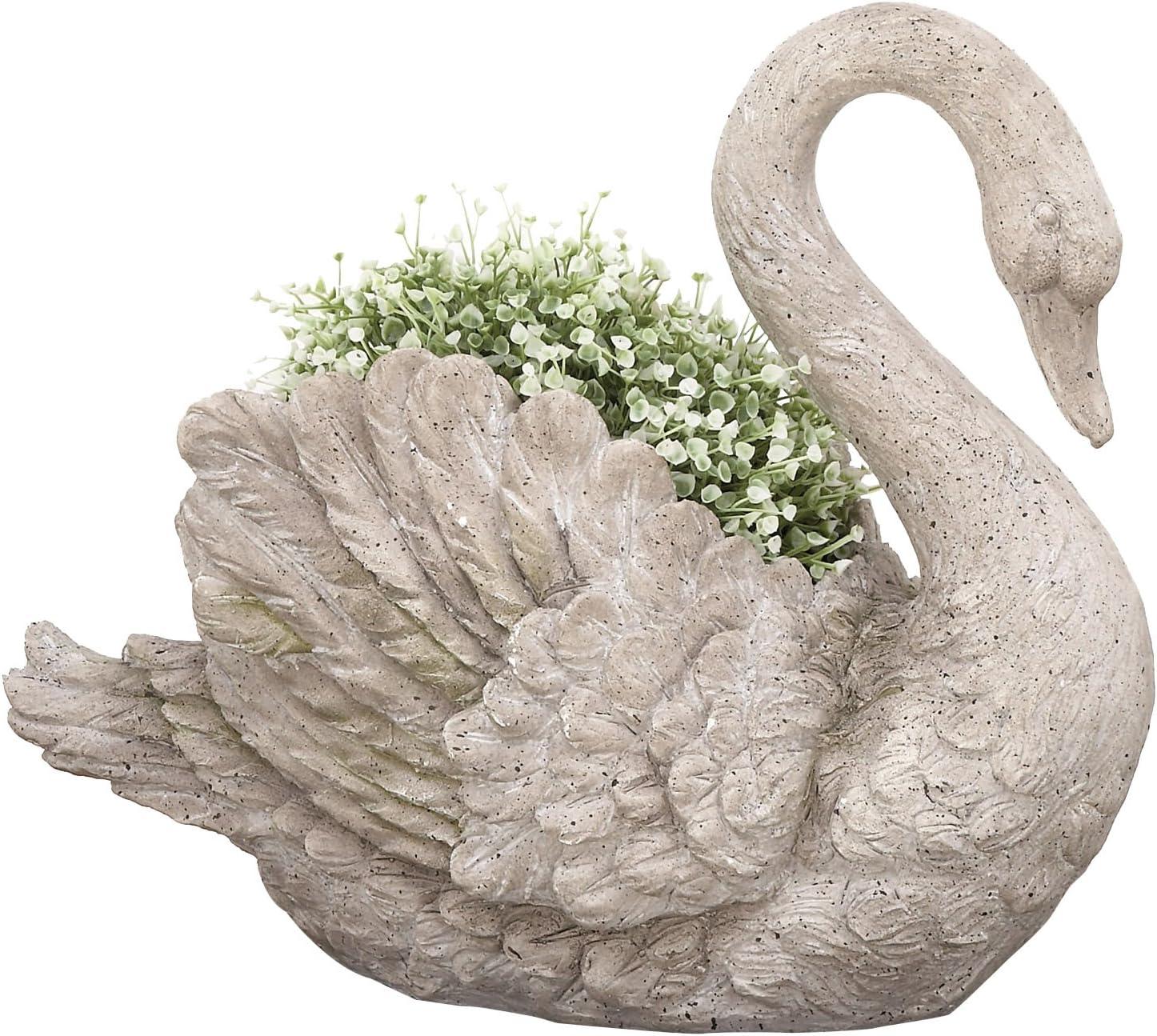 Urban Designs Swan Cast Stone Planter Garden Decor, Grey