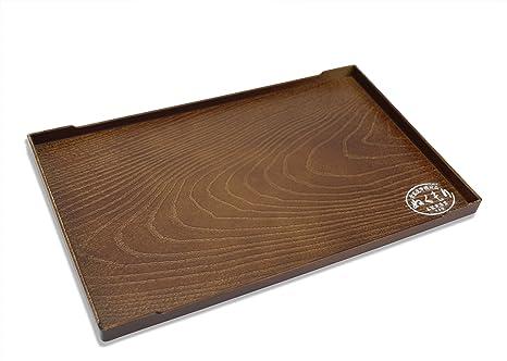 Bandeja de servir lacada japonesa, diseño de grano de madera simulada, 25,3