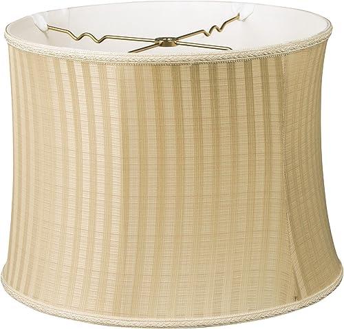 Royal Designs Bell Drum Designer Lamp Shade, Two Tone Stripe, 14 x 15 x 11