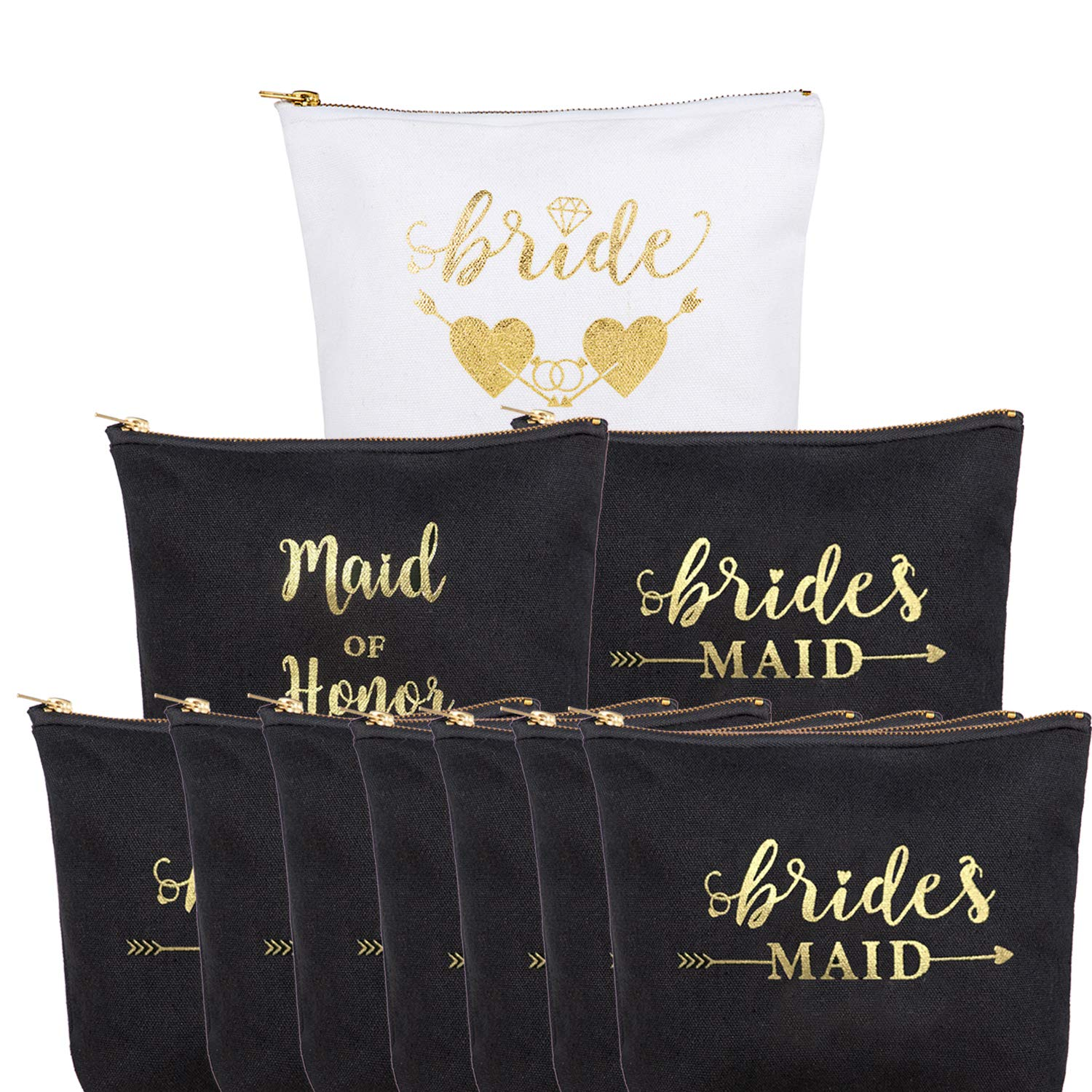 """10 Pack Bride Cotton Zipper Makeup Bag, 5.9""""x7.8""""with bottom 1.9"""",1 Bride 1 maid of honor 8 bridesmaids Gifts Bag, Multi-Purpose Bridesmaid Proposal Gifts,for Wedding Bridal Shower Bachelorette Party"""