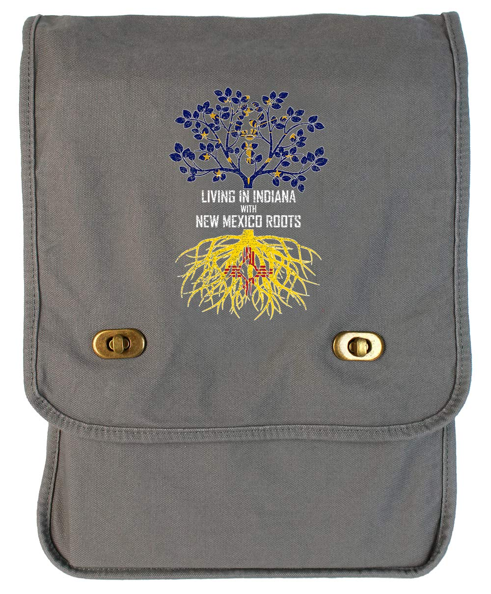 Tenacitee Living In Indiana with New Mexico Roots Grey Brushed Canvas Messenger Bag