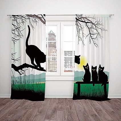 Amazon.com: Satin Window Drapes Kitchen Curtains,Cat,Mother ...