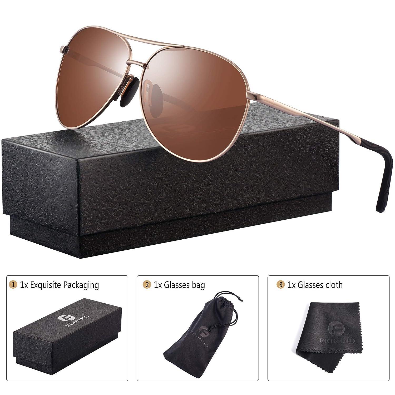 ff42264b70 Polarized Aviator Sunglasses for Men - Feirdio Metal Frame Sports UV 400  Protection Mens Unisex Sunglasses