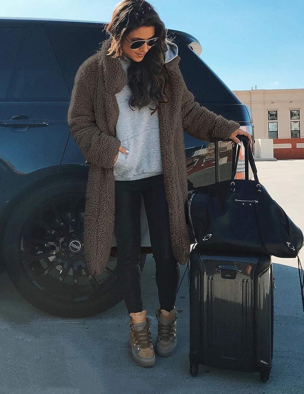 ZHENWEI Womens Fuzzy Fleece Lapel Coat Faux Fur Warm Winter Outwear Jackets