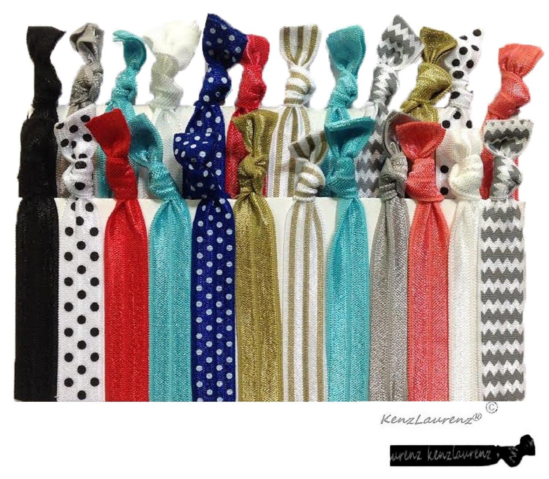 Kenz Laurenz Ribbon Hair Ties Holders (25 Hair Ties)