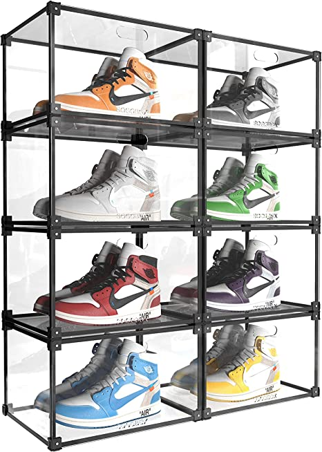 2PCS Shoes Box Magnetic Set Front Open Home Stackable Sneaker Container NEW!
