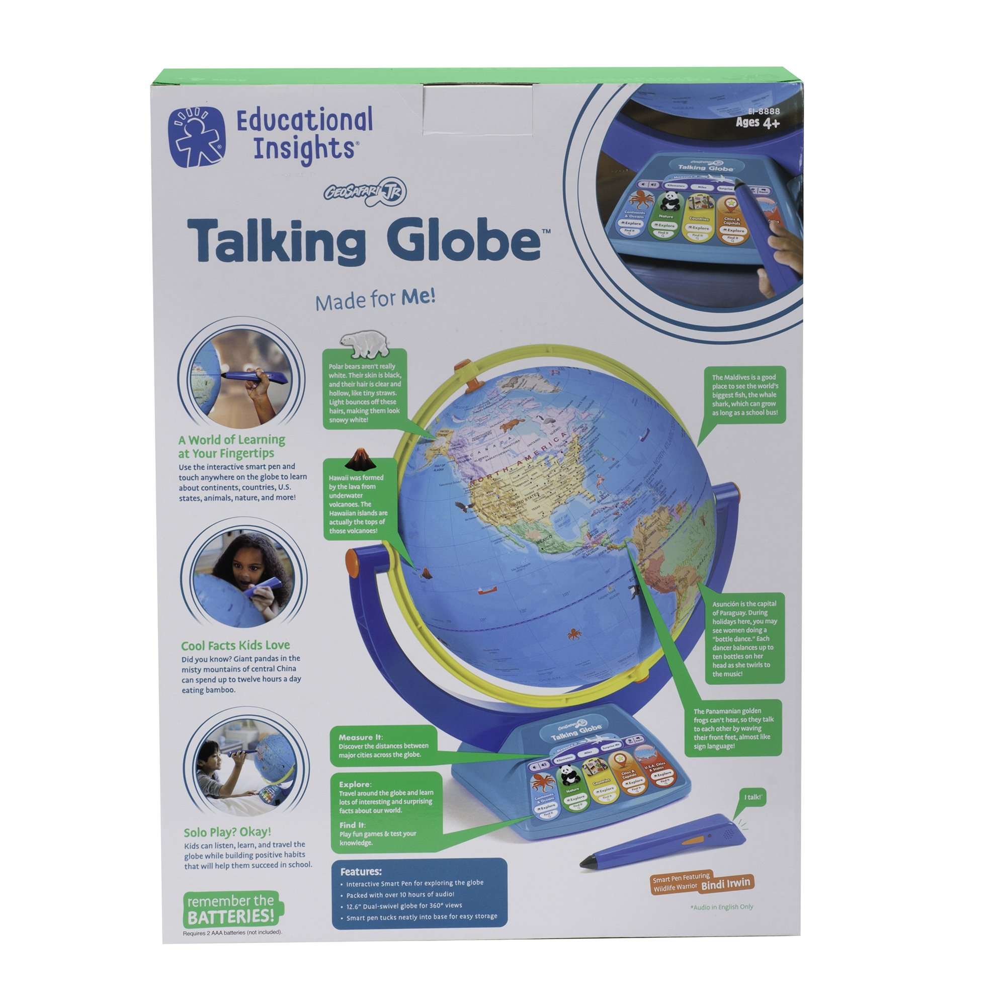 Educational Insights Geosafari Jr. Talking Globe-Featuring Bindi Irwin-Learning Toy by Educational Insights (Image #5)