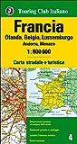 Francia, Olanda, Belgio, Lussemburgo, Andorra, Monaco 1:800.000. Carta stradale e turistica. Ediz. multilingue