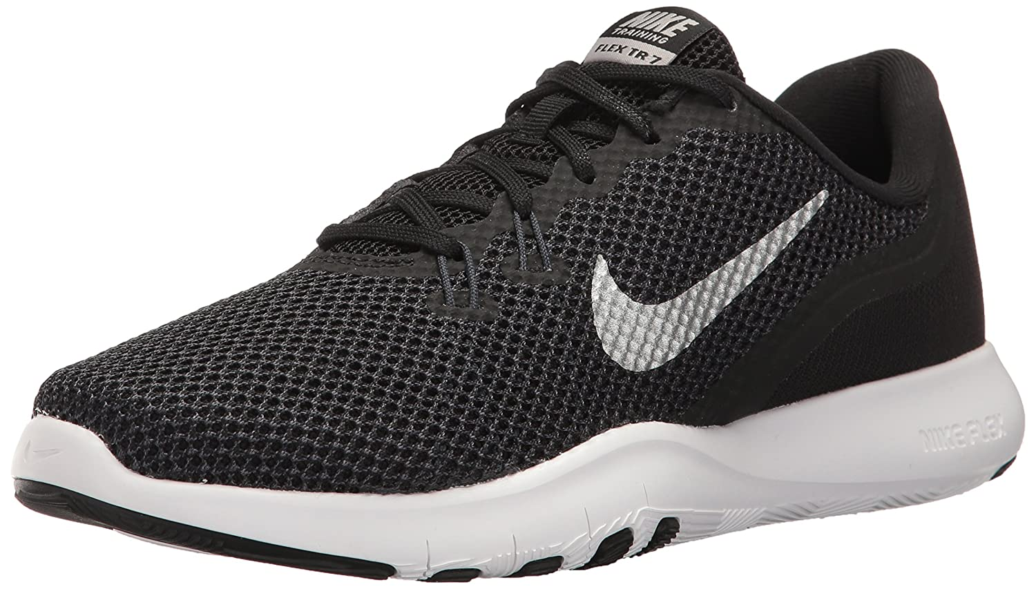 NIKE Women's Flex 7 Cross Trainer B01N2WM8OH 8.5 W US|Black/Metallic Silver - Anthracite - White