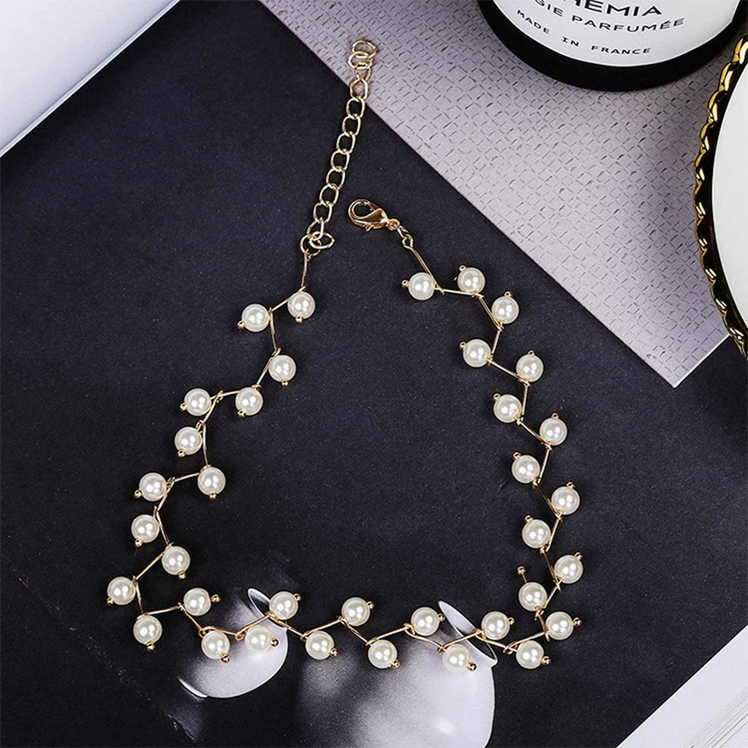 Lucky House1 Women Necklace Simple Short Necklace Imitation Pearl Necklace Steampunk Necklace