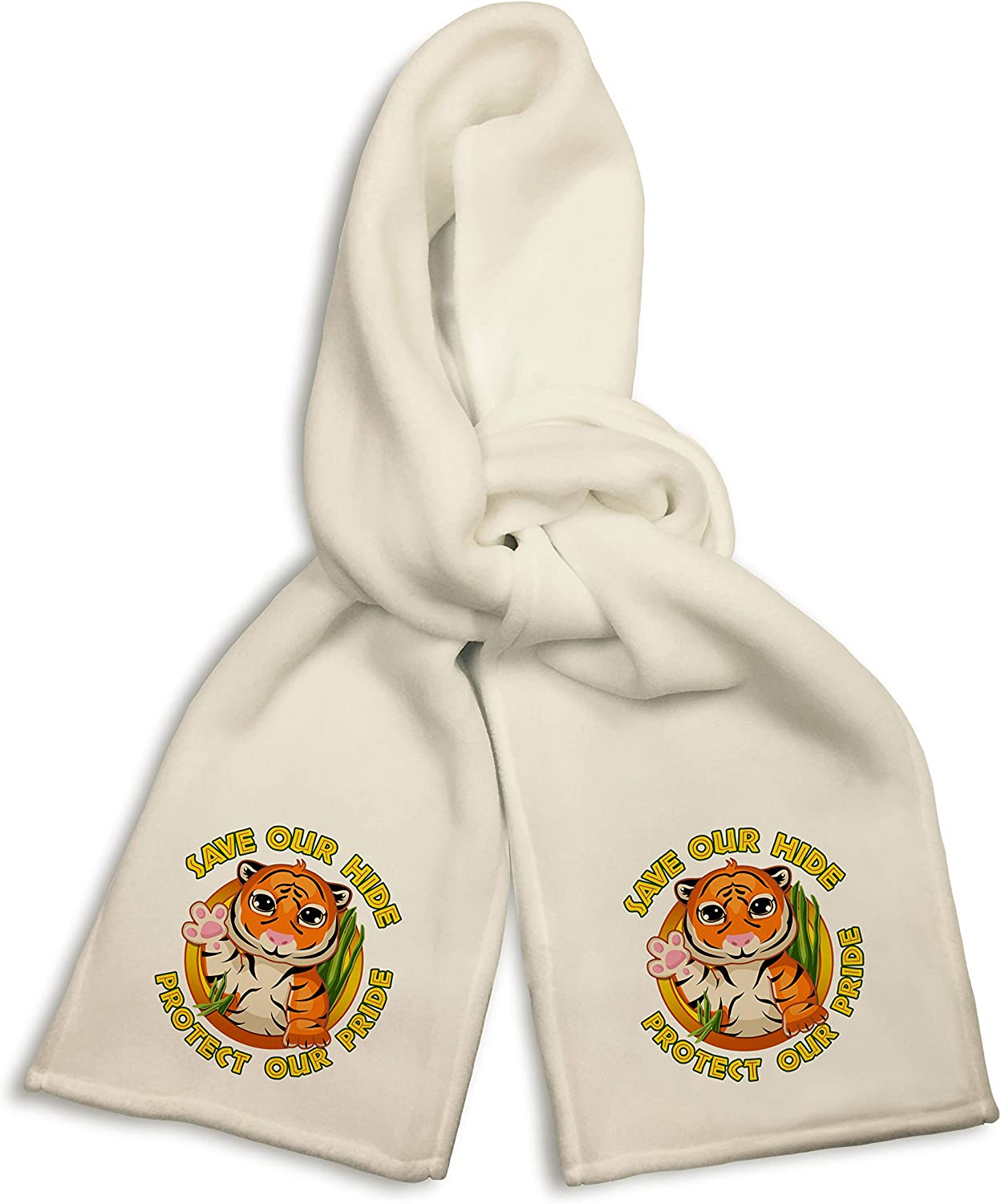 White Winter Scarf - Save Our Hide Protect Our Pride Tiger Conservation