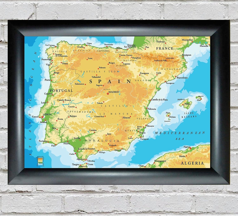 Mapa de España y Portugal con todas las principales ciudades. Disponible con marco., A3 - Framed: Amazon.es: Hogar
