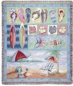 "Simply Home Tropical Flip Flops Beach Umbrella Fish Tapestry Throw Blanket 50"" x 60"""