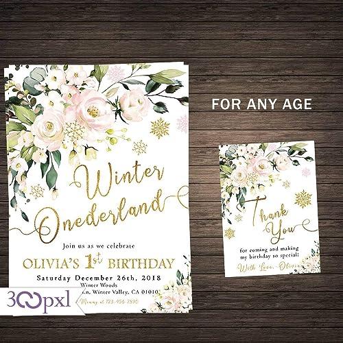 Amazon Com Winter Onederland Birthday Invitation Girl Winter First