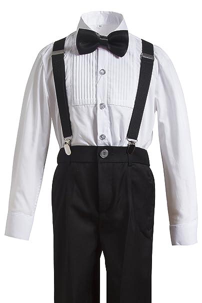 28163e057 Amazon.com: Gele Boy 4 Pieces Suspender Trousers Formal Wear,Shirt+Pants+Straps+Bow  Tie: Clothing