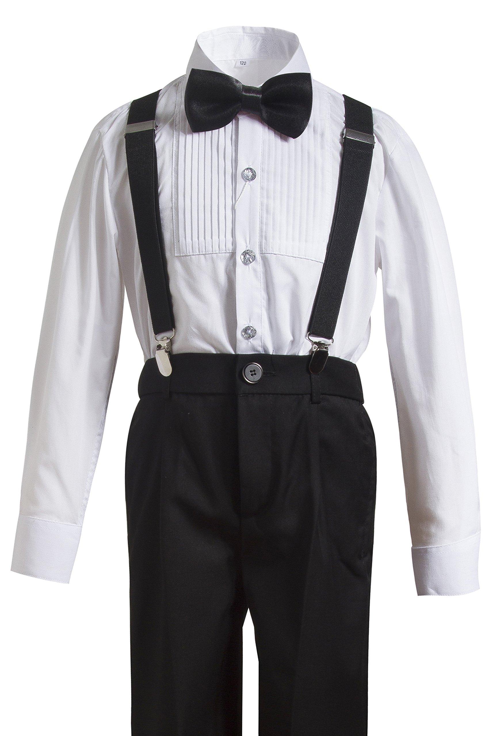 Gele Boy 4 Pieces Suspender Trousers Formal Wear,Shirt+Pants+Straps+Bow Tie (7, Black)