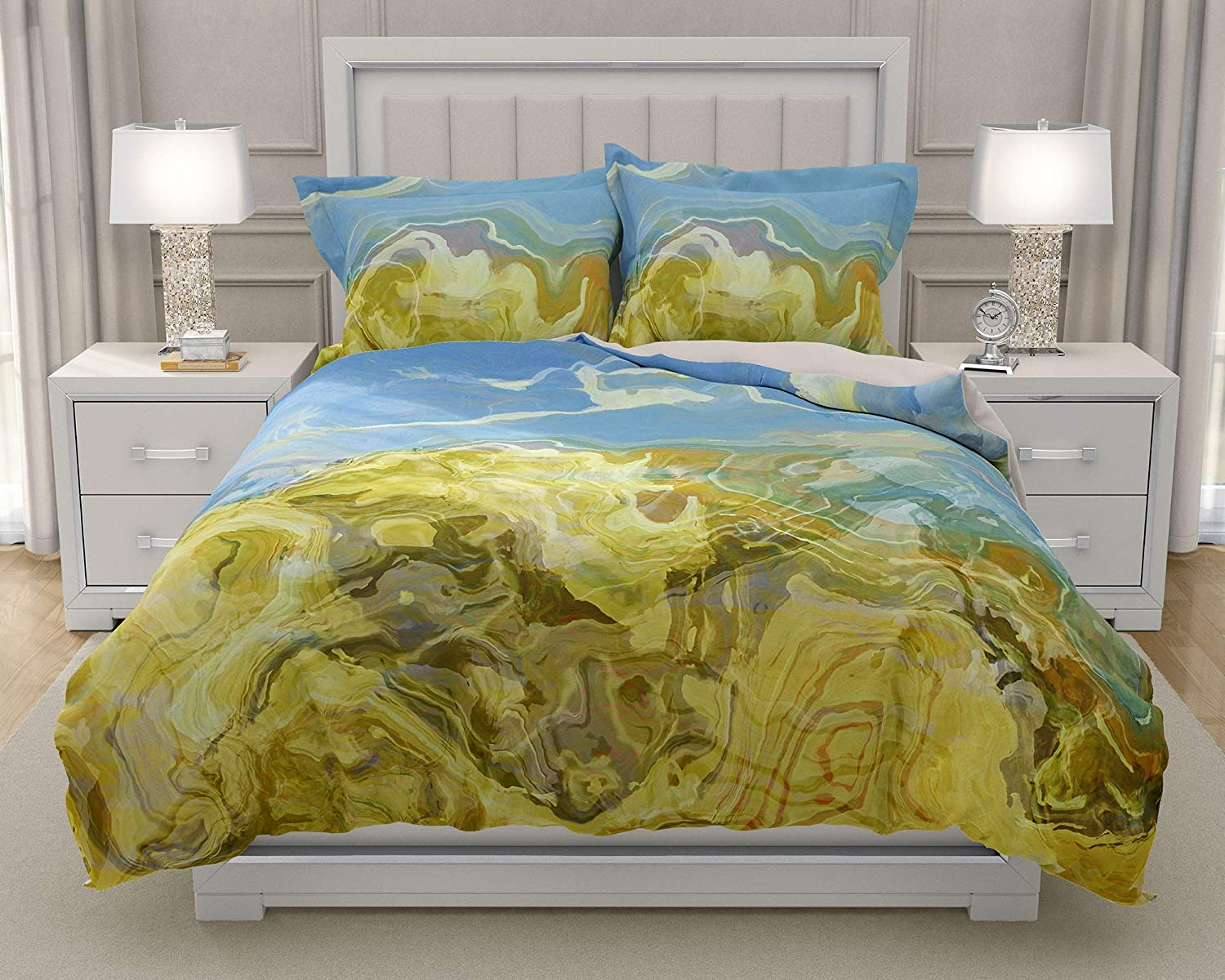 Image of Home and Kitchen King or Queen 3 pc Duvet Cover Set with abstract art, Dune Scape