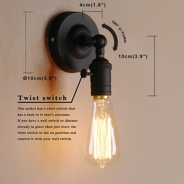 Kupfer Farbe/ Pathson Wandbeleuchtung Wandleuchten Vintage Industrie Loft-Wandlampen Antik Deko Design Wandbeleuchtung