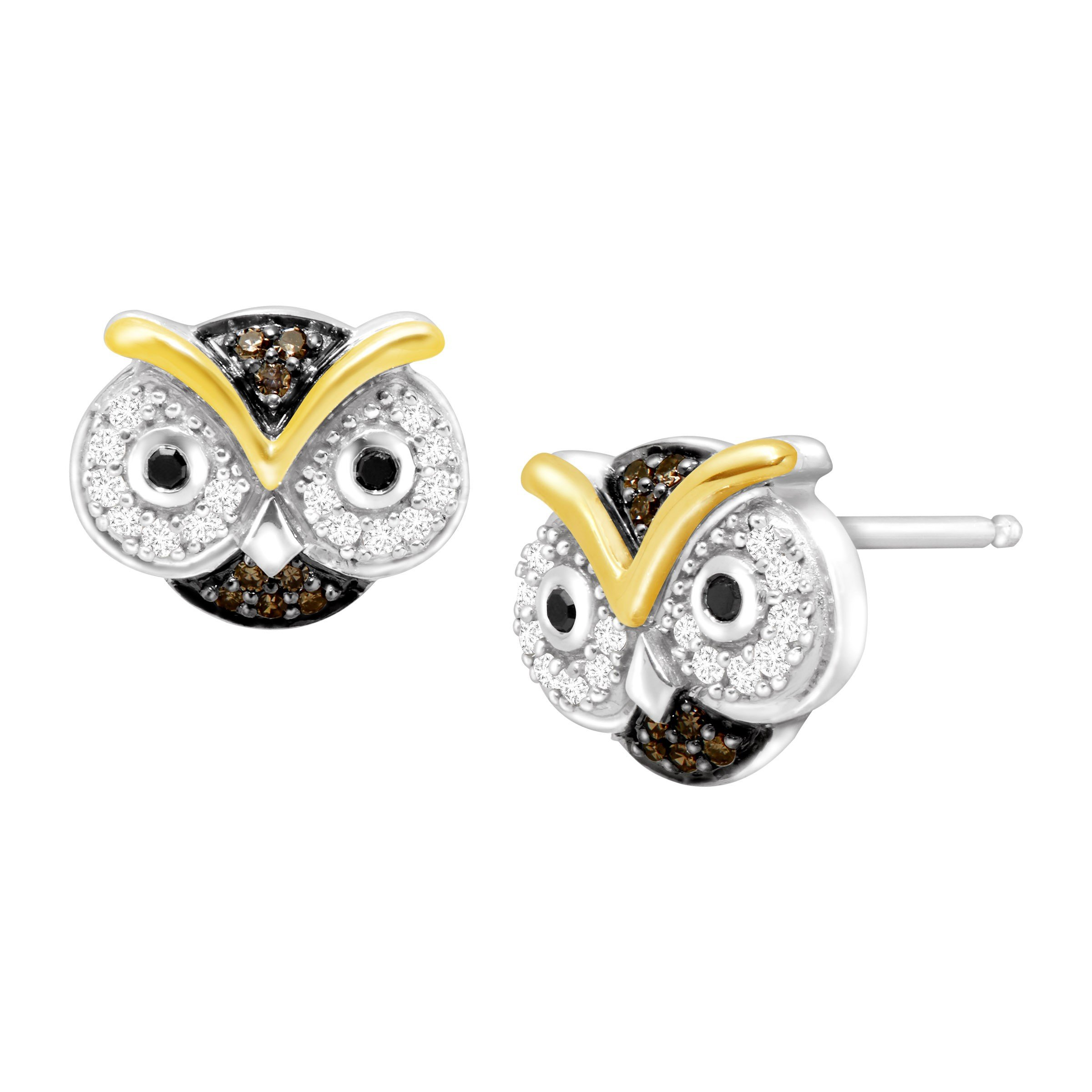 1/5 ct 1/5 ct Black, White & Champagne Diamond Owl Stud Earrings in Sterling Silver & 10K Gold