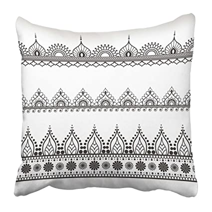 Amazon Emvency Decorative Throw Pillow Covers Cases Henna Awesome How To Stitch Pillow Cover In Hindi