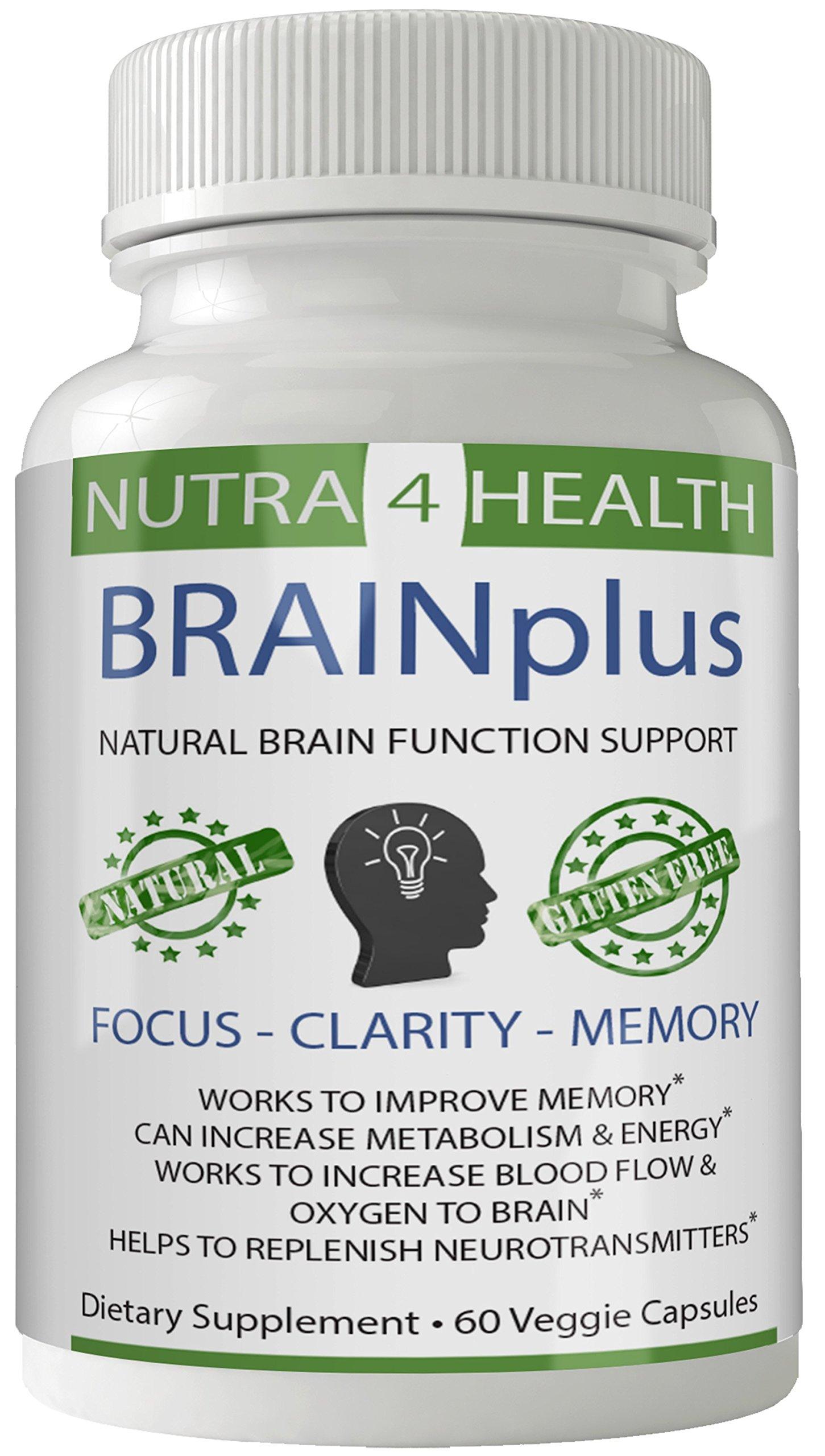 BRAINplus - Brain IQ Plus Capsules for Brain Plus IQ Original from nutra4health, Brain Booster, Brain Supplement for FOCUS, CLARITY and MEMORY NEW FORMULA 2018