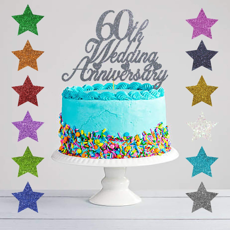 Diamond Wedding Anniversary 60th Wedding Anniversary Glitter Cake Topper