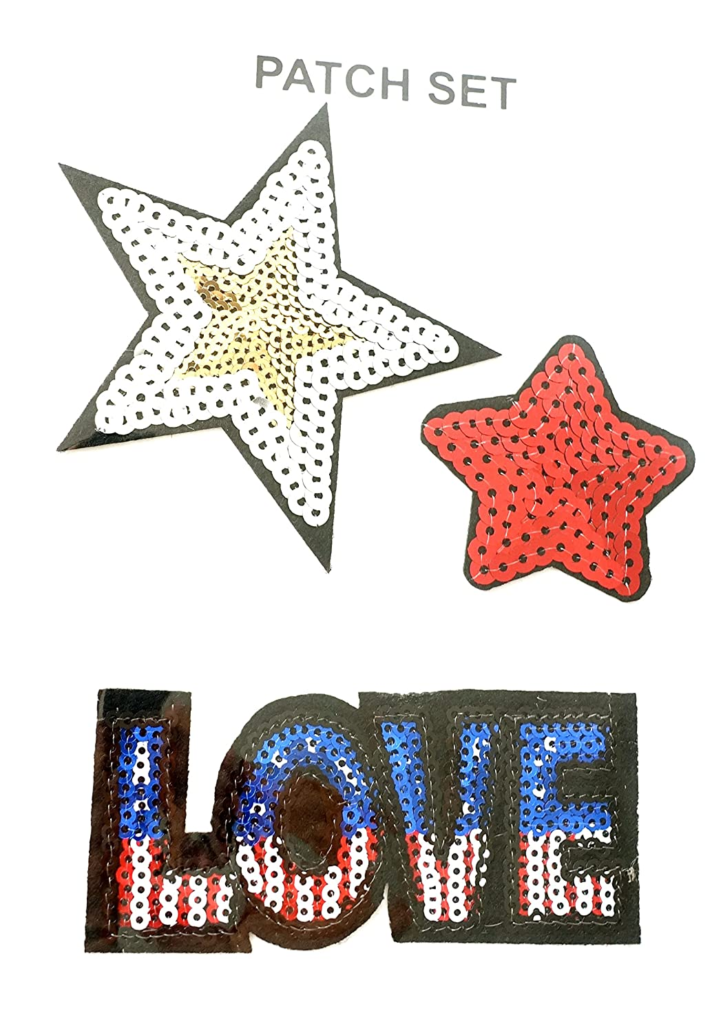 réf0l50ACC.04–Patch thermo-collant tema USA–Love y estrellas con lentejuelas