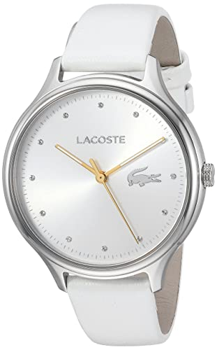 6c2d4c831e Lacoste Women's Constance Stainless Steel Quartz Watch with Leather  Calfskin Strap, White, 14 (Model: 2001005)