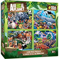 MasterPieces 4-Pack Kids 100 Puzzles Collection - Animal Planet 4-Pack 100 Piece Jigsaw Puzzle