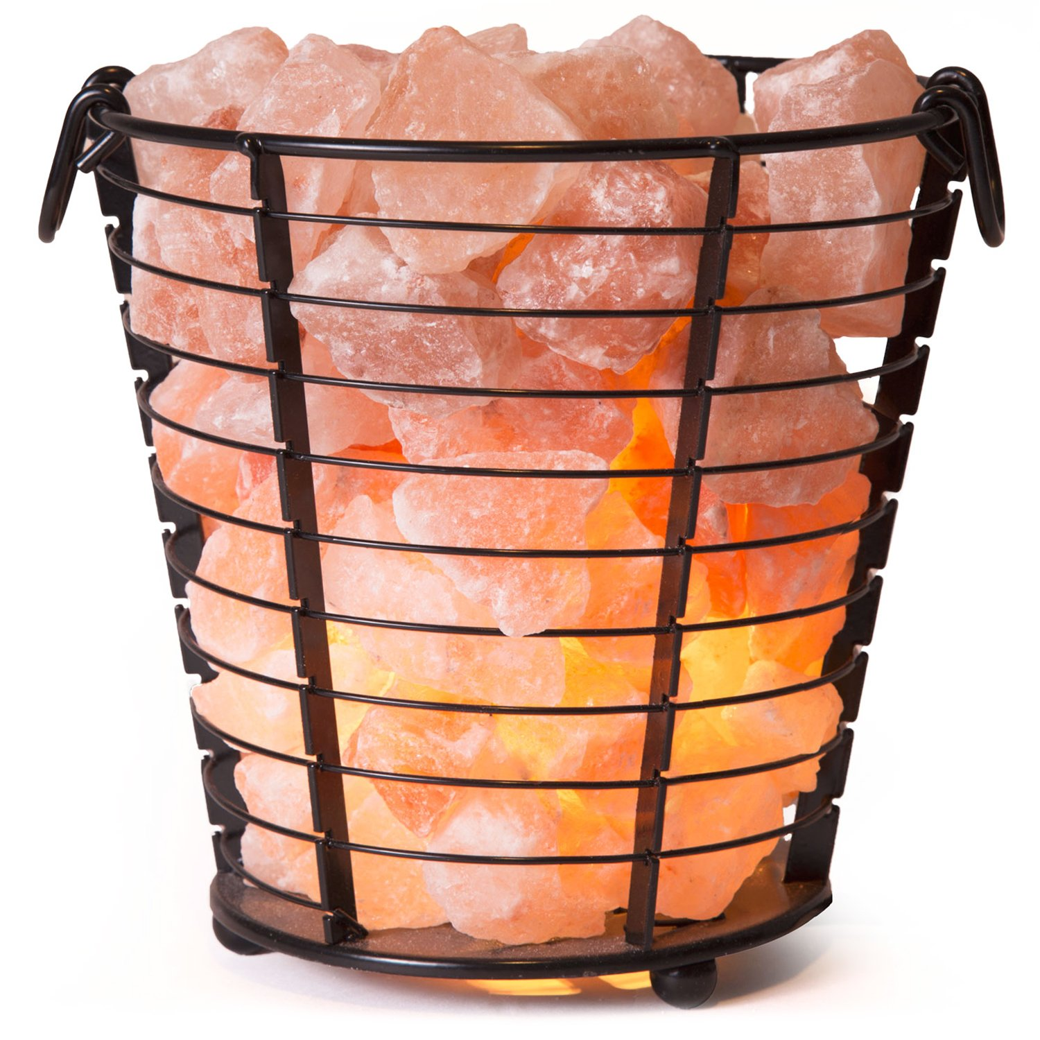 Crystal Allies Natural Himalayan Salt Wire Mesh Basket Vase Lamp with Cord, Light Bulb & Authentic Crystal Allies Info Card - Choose Your Pattern (Beacon)