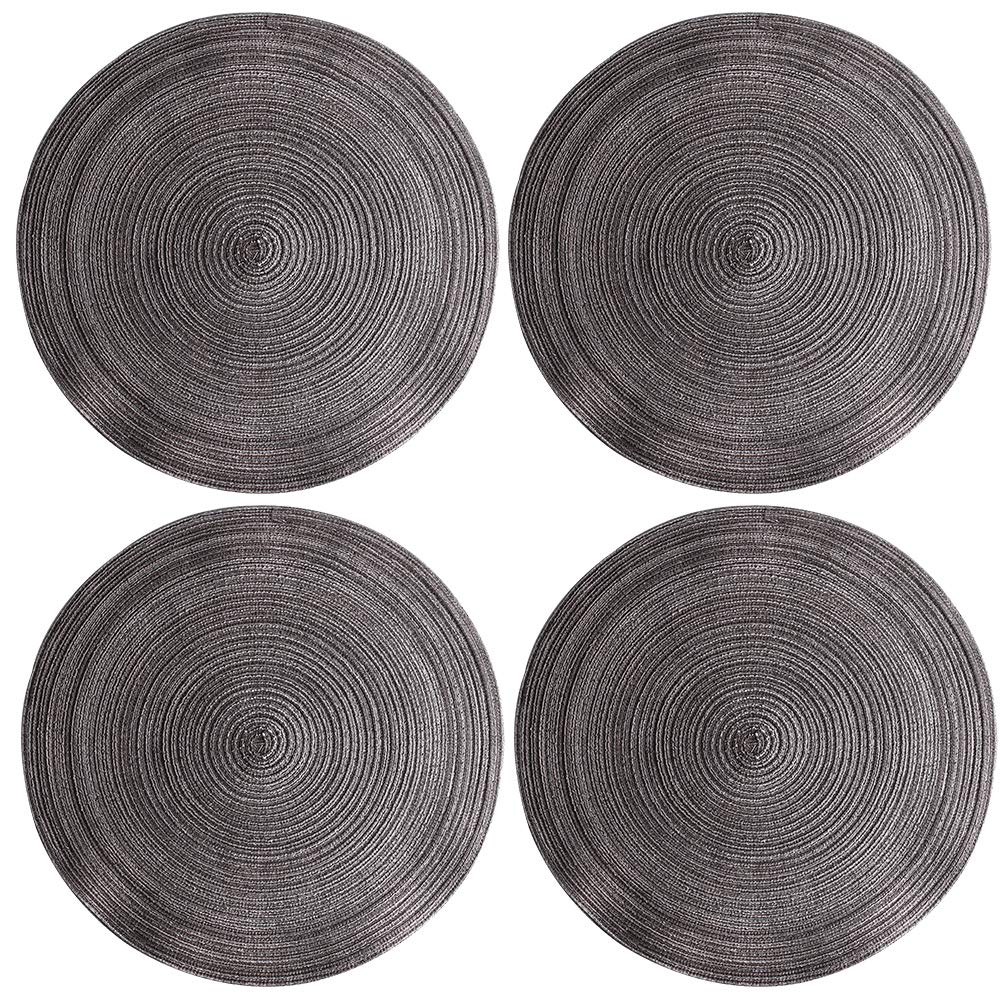 Black Machine Wash Fine Polyester Fabric Set of 4 14 Inch By Whole House Worlds Kawasimaya Round Shades of Blue Placemats