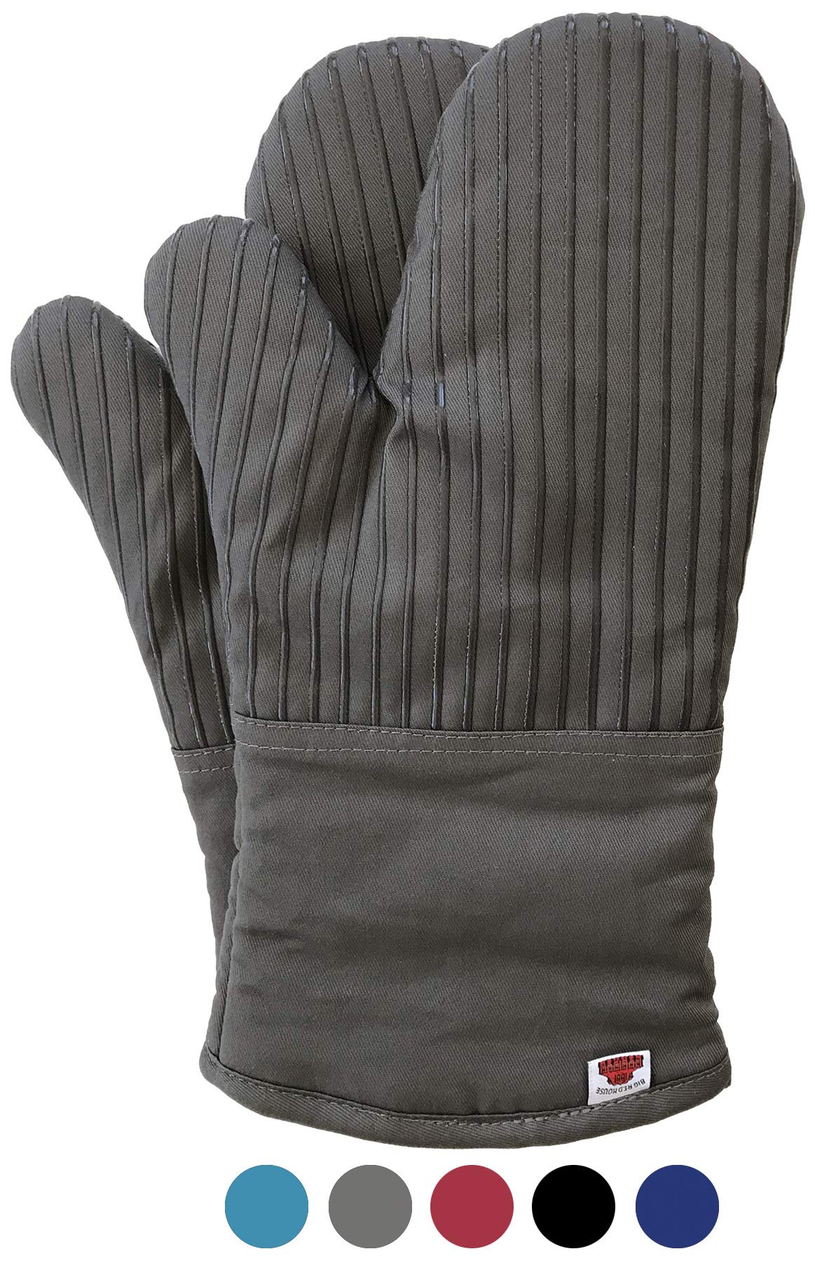 Big Red House Oven Mitts, with The Heat Resistance of Silicone and Flexibility of Cotton, Recycled Cotton Infill, Terrycloth Lining, 480 F Heat Resistant Pair Grey by Big Red House