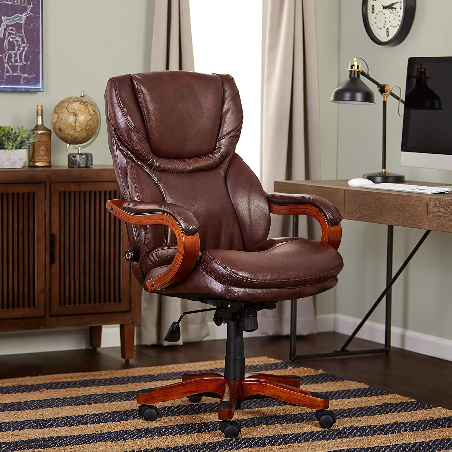 Serta Bonded Leather Big & Tall Executive Chair, Brown