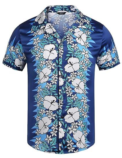 f91727ee COOFANDY Men's Hawaiian Shirt Hibiscus Floral Print Beach Aloha Shirt