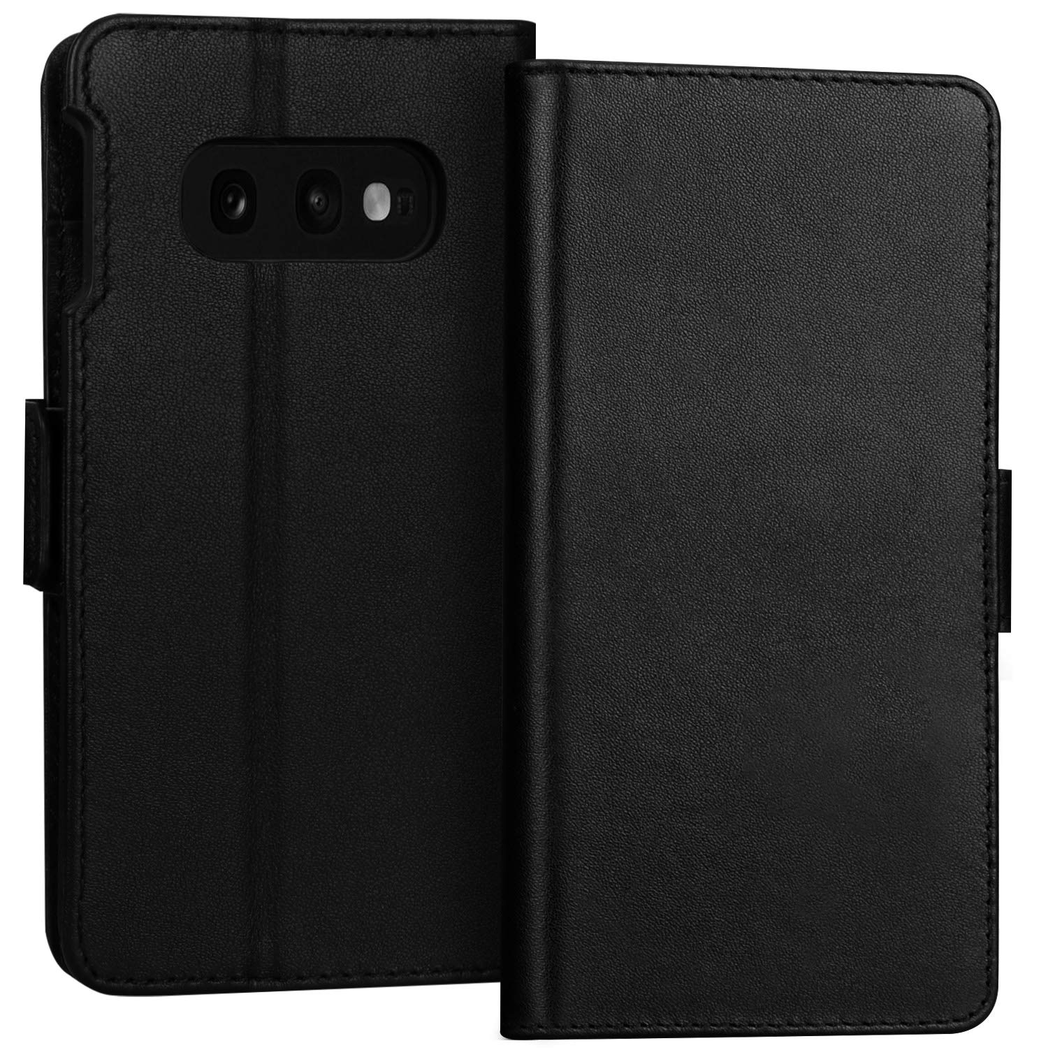 FYY Samsung Galaxy S10e 5.8'' Luxury [Cowhide Genuine Leather][RFID Blocking] Handcrafted Wallet Case, Handmade Flip Folio Case with [Kickstand Function] and [Card Slots] for Galaxy S10e (5.8'') Black by FYY