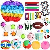 Sensory Fidget Toy Set Box for Kids 38 Pack Including Push pop, Fidget Spinners, Stress Balls, Pop Tubes, Bike Chain…