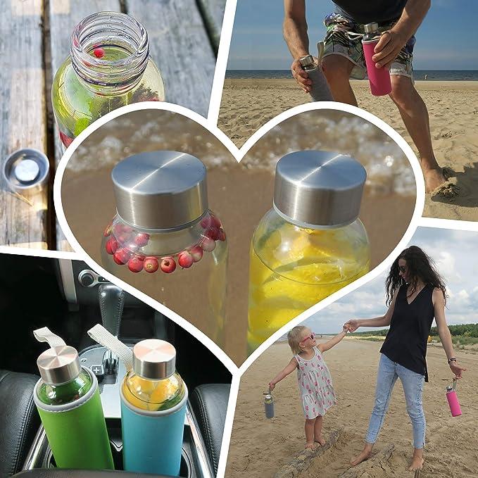 Wenburg Botellas de Vidrio 500 ML, 6 Piezas en Juego + Cepillo de Limpieza, cantimploras/Botellas de Cristal para Agua, zumos, té.