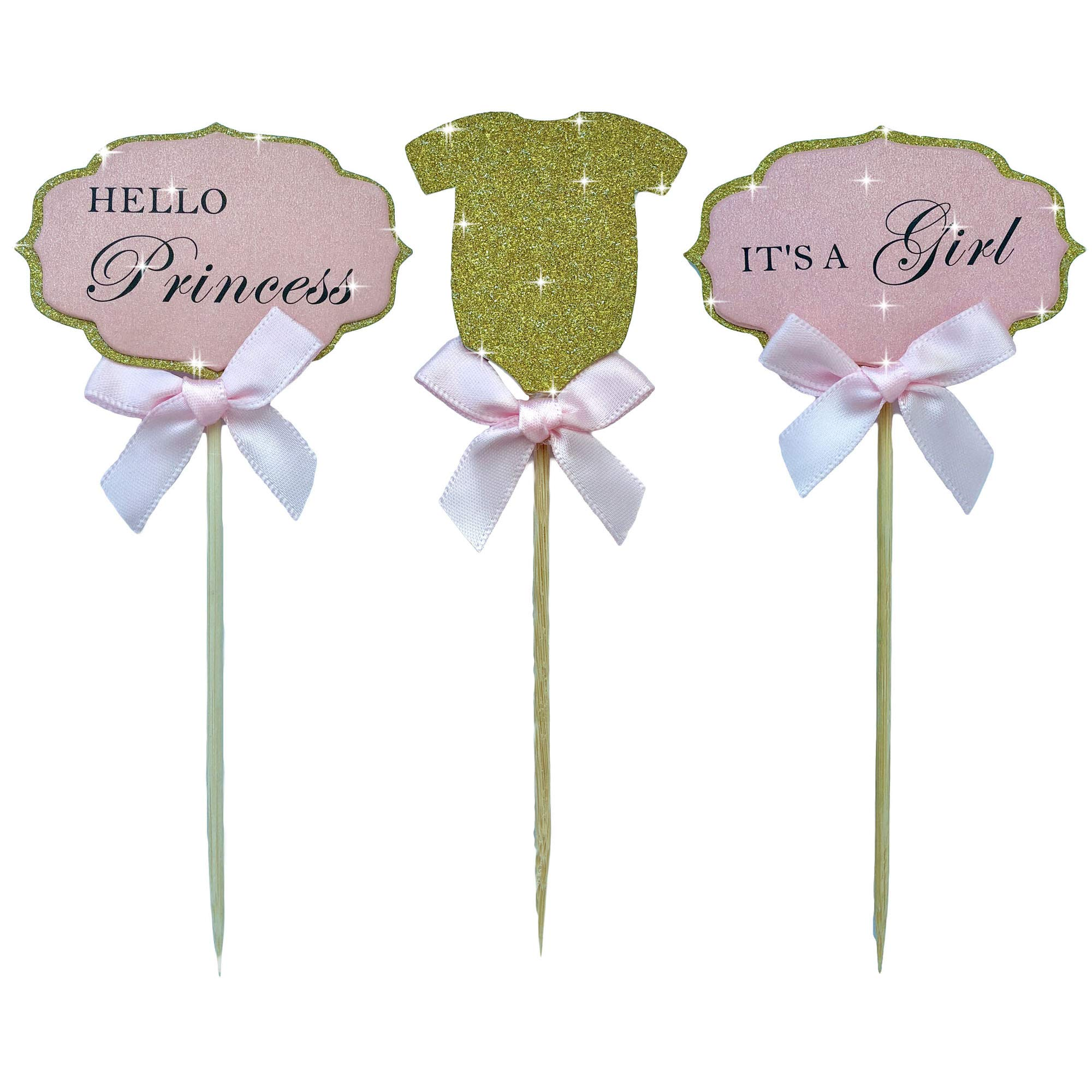 Mother&Fabulous Baby Girl Cupcake Toppers Its A Girl &Hello Princess & Gold Glitter Suit With Elegant Pink Bow. A Special Baby Girl Shower Decoration - 18 Count.
