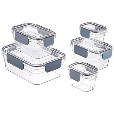 AmazonBasics Tritan 10 Piece Locking Food Storage Container - Clear