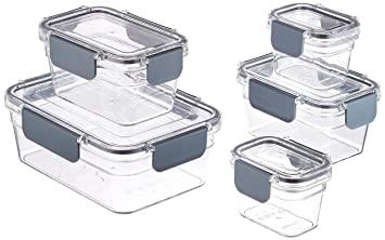 AmazonBasics Tritan 10 Piece Locking Food Storage Container - Clear
