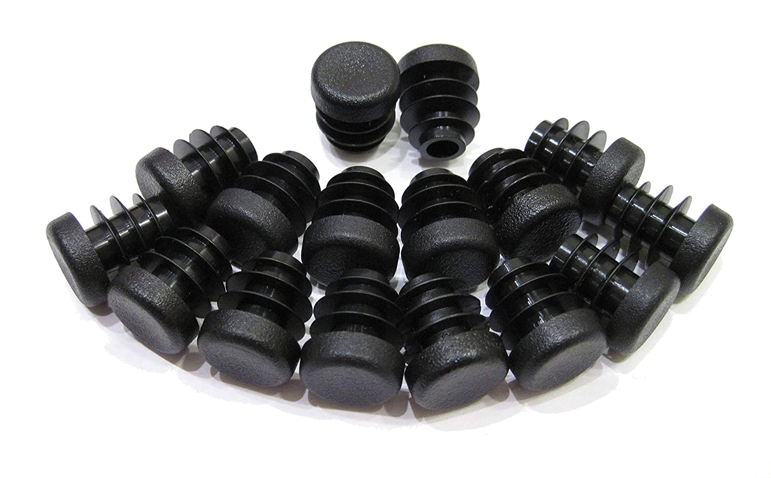 16pcs Pack: 1/2 Inch Round Black Plastic End Cap (for Hole Size from 3/8 to 7/16 inches), Furniture Finishing Plug