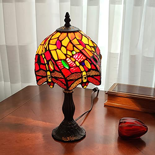 Amora Lighting Tiffany Style Mini Accent Lamp Red Yellow Jewels Dragonfly Bedside Nightstand End 14.5″ Tall 8″ Wide D cor Antique Vintage Handmade Gift AM064TL08B