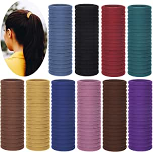 200 Pieces Cotton Hair Ties, Seamless Hair Bands Stretch Hair Ties Ponytail Holders Thick Hair Elastics Hair Accessories for Women Girls