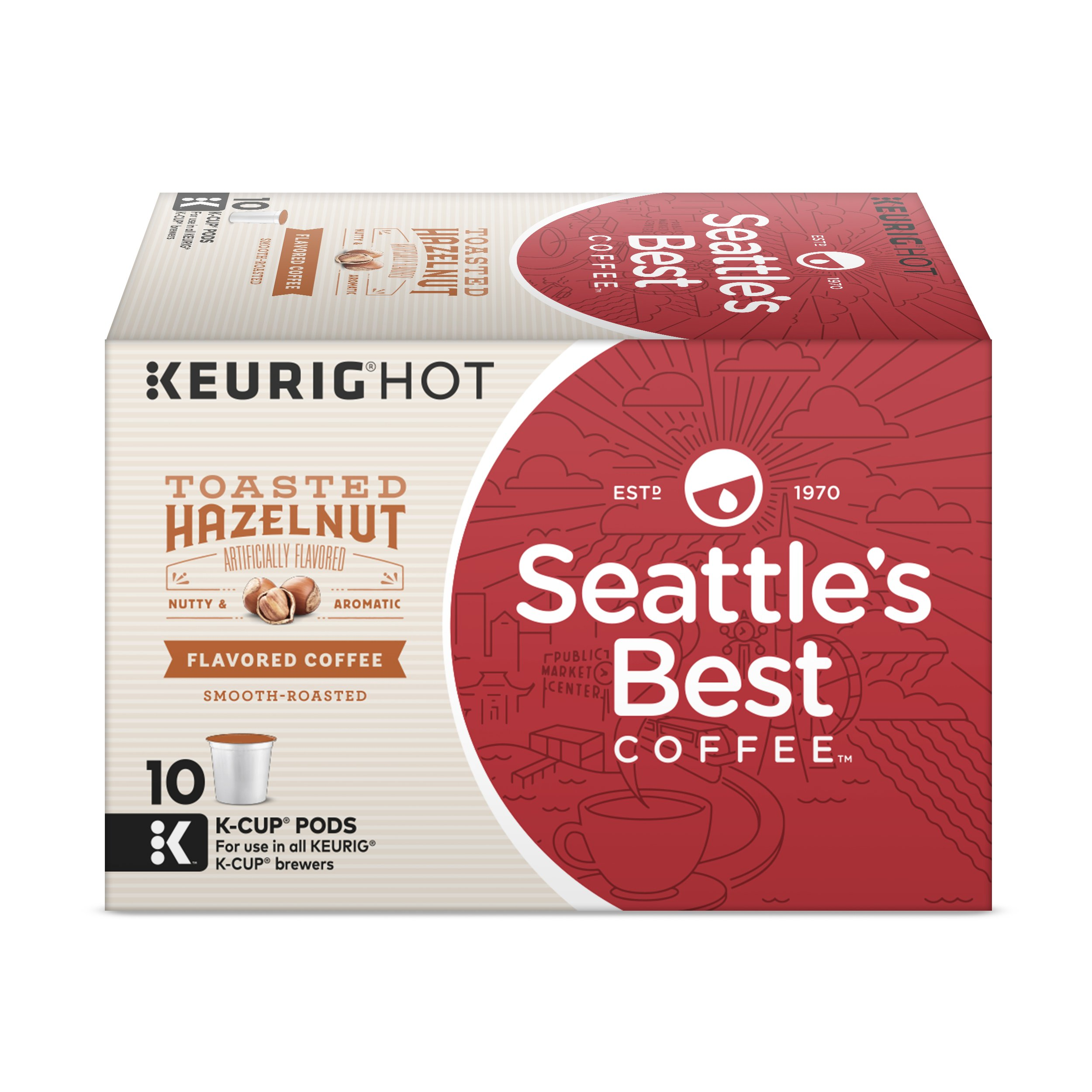 Seattle's Best Coffee Toasted Hazelnut Flavored Medium Roast Single Cup Coffee for Keurig Brewers, 6 boxes of 10 (60 Total K-Cup pods)