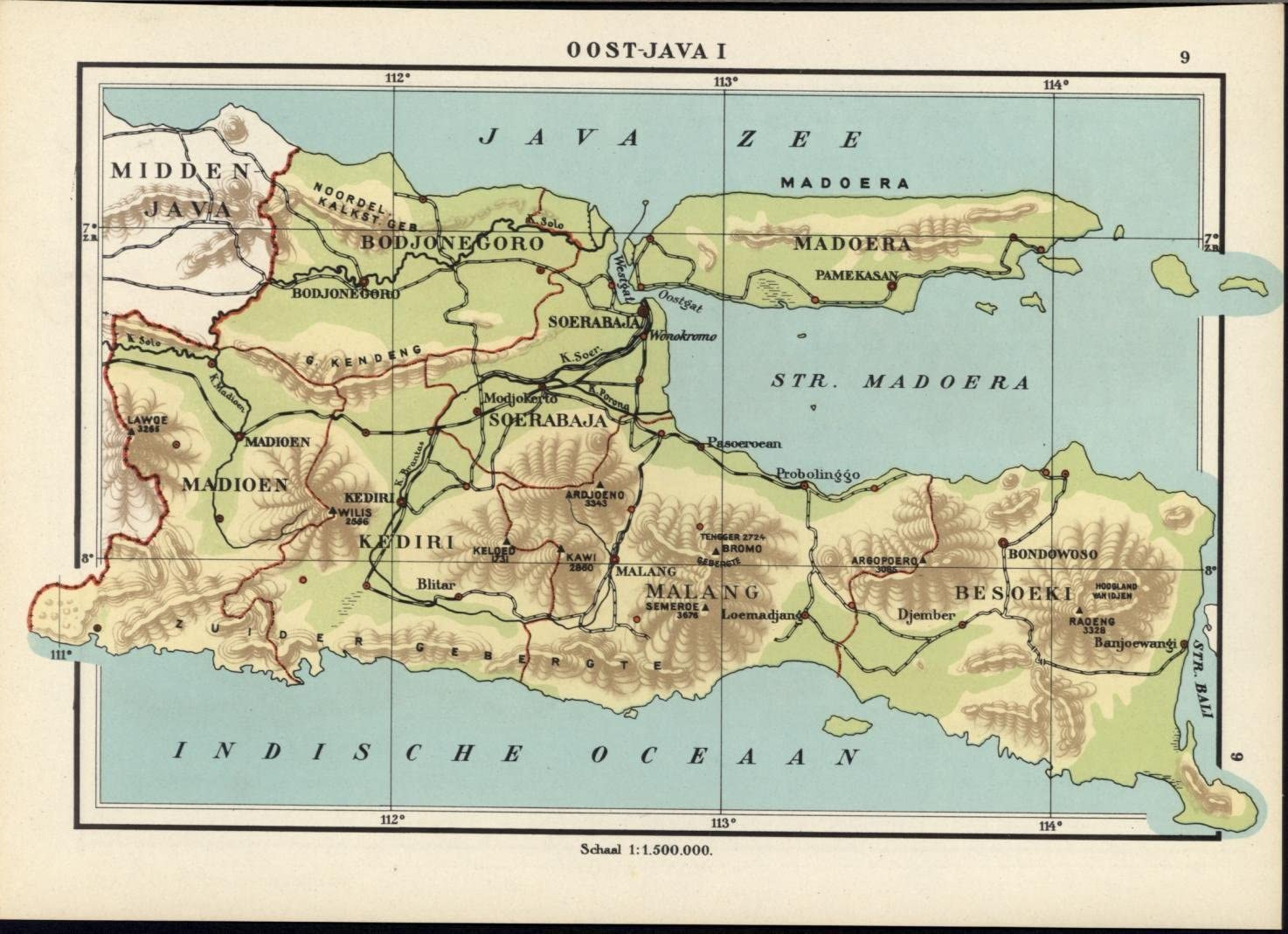 East Java Madura Malang Indonesia 1940 Vintage Color Lithograph Map At Amazon S Entertainment Collectibles Store