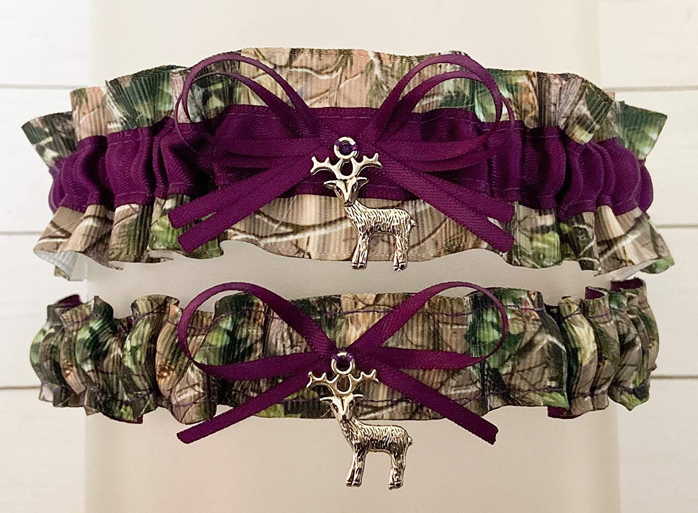 Camouflage Dark Purple Satin Wedding Bridal Garter Set Deer Charm